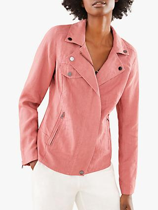 Pure Collection Linen Biker Jacket, Rose