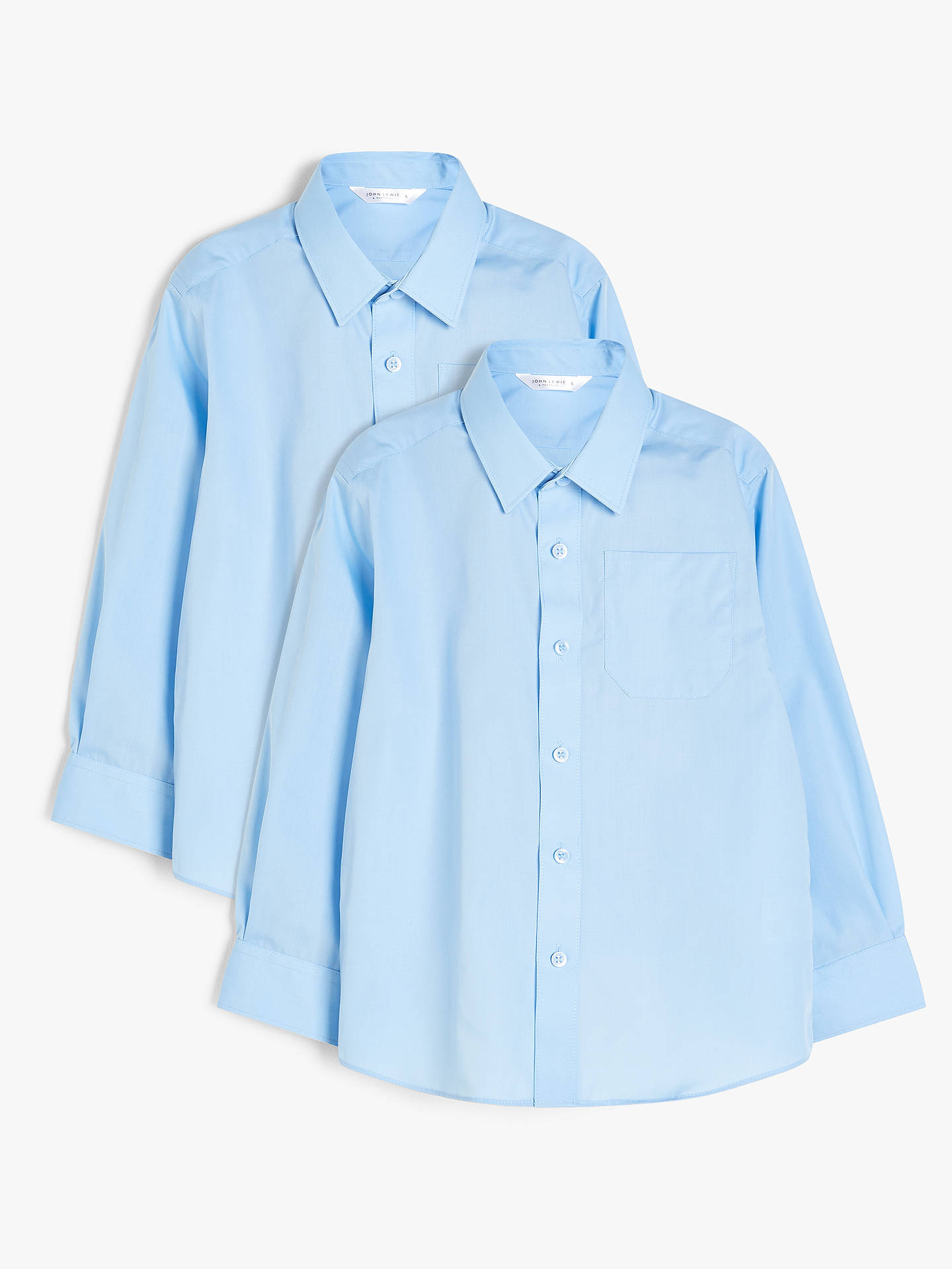 Buy John Lewis & Partners Boys' Non Iron Stain Resistant Long Sleeve School Shirt, Pack of 2, Blue, 3 years Online at johnlewis.com