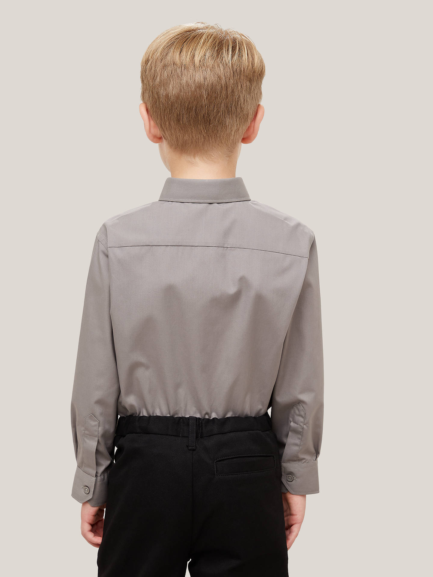 Buy John Lewis & Partners Boys' Non Iron Stain Resistant Long Sleeve School Shirt, Pack of 2, Grey, 3 years Online at johnlewis.com