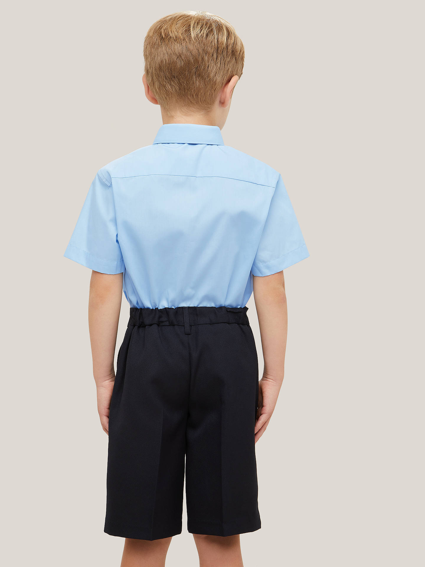 Buy John Lewis & Partners Boys' Short Sleeved Stain Resistant Easy Care Shirt, Pack of 2, Blue, 4 years Online at johnlewis.com