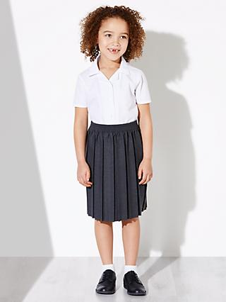 John Lewis & Partners Girls' Easy Care Open Neck Short Sleeve School Blouse, Pack of 2, White