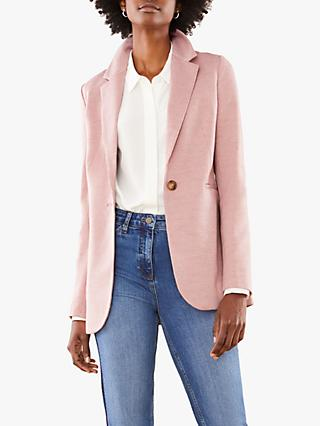 Pure Collection Ponte Blazer, Pink Micro Check