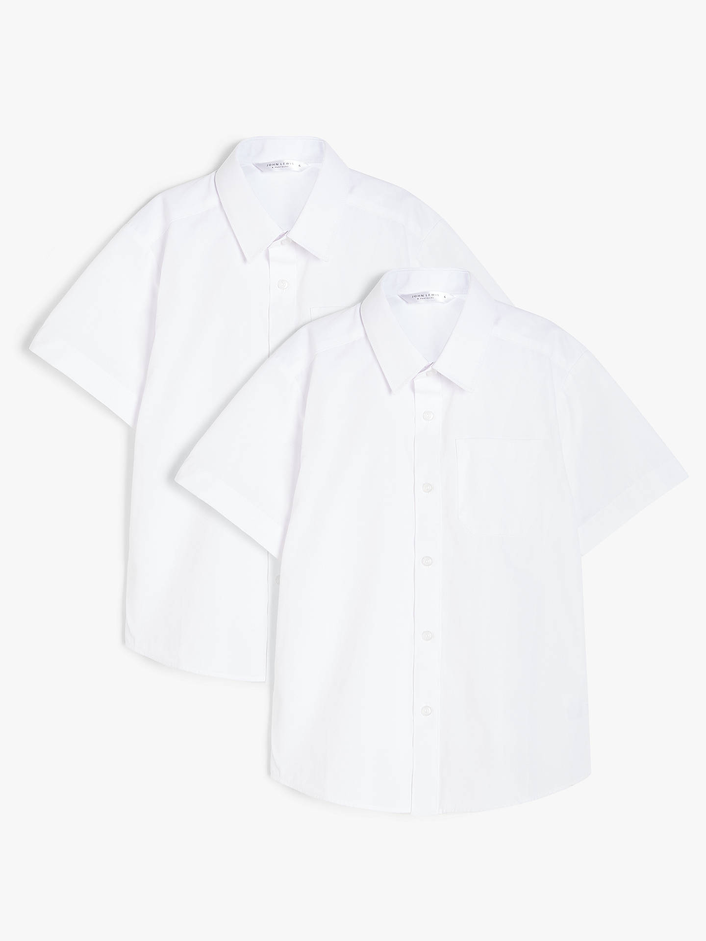 Buy John Lewis & Partners Boys' Short Sleeved Stain Resistant Easy Care Shirt, Pack of 2, White, 4 years Online at johnlewis.com