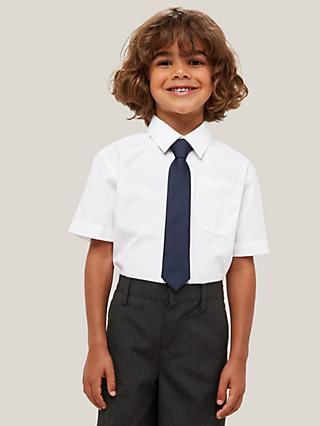 John Lewis & Partners Boys' Short Sleeved Stain Resistant Easy Care Shirt, Pack of 2