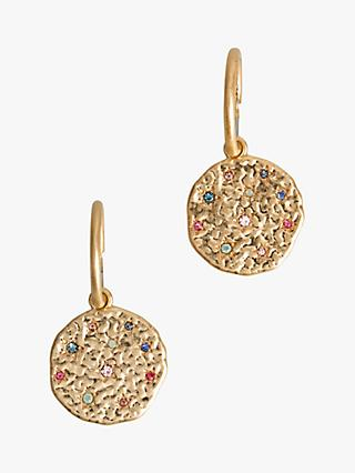 hush Lea Disc Hoop Earrings, Gold/Multi