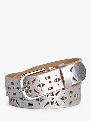 hush Ely Leather Belt, Silver