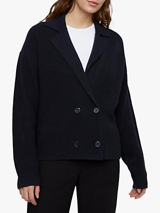 Jigsaw Chunky Rib Collar Cord Jacket, Dark Navy