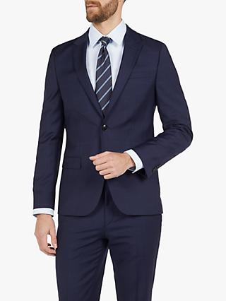 HUGO by Hugo Boss Harvey202 Windowpane Check Wool Slim Fit Suit Jacket, Dark Blue