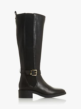 Dune Torent T Leather Buckled Knee High Boots, Black