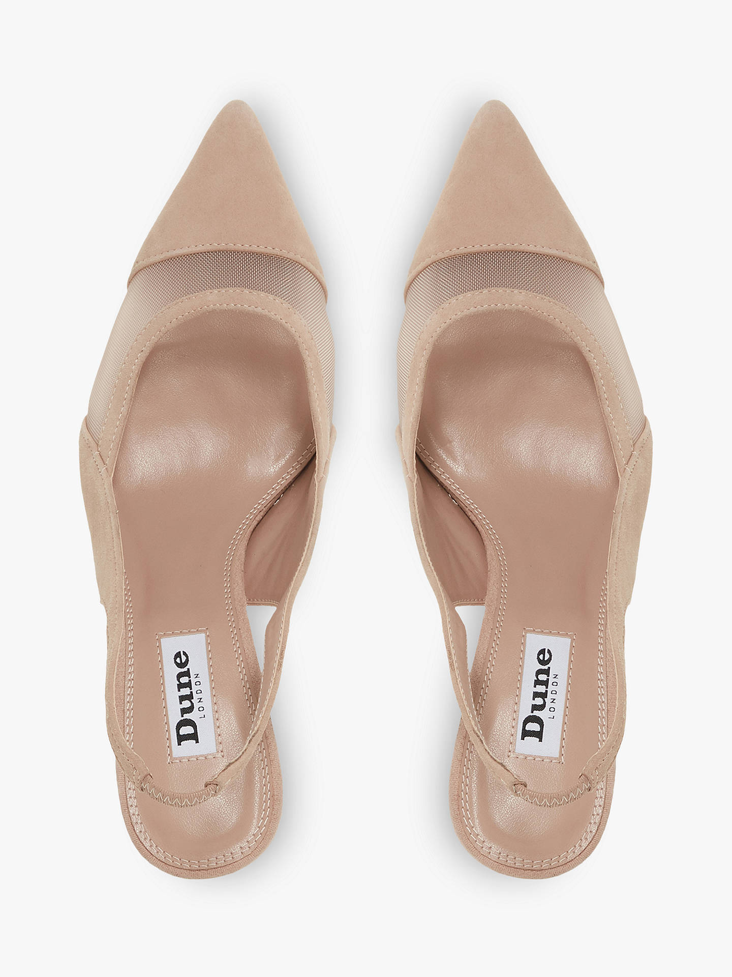Dune Cathy Slingback High Heel Court Shoes, Nude Patent at