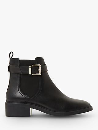 Dune Piros T Leather Buckle Strap Ankle Boots, Black