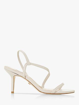 Dune Mojo Leather Asymmetric Strap Slingback Sandals, Ecru