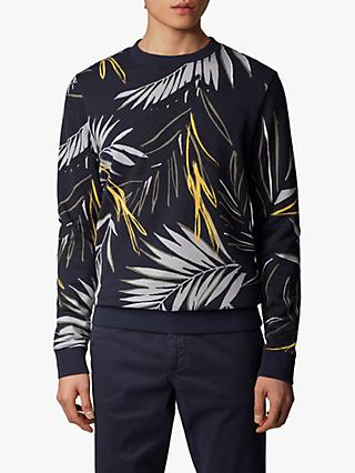 BOSS Weleaf Leaf Print Sweatshirt, Dark Blue