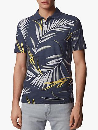 BOSS Peleaf Slub Cotton Leaf Print Polo Shirt, Dark Blue