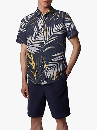BOSS Rash Palm Print Short Sleeve Shirt, Dark Blue