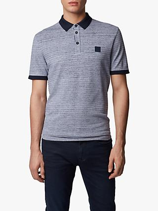 BOSS Pself Regular Fit Double Spin Melange Polo Shirt, Dark Blue