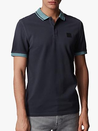 BOSS Prim Contrast Slim Fit Rugby Polo Shirt, Dark Blue