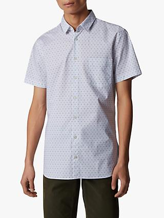 BOSS Magneton Card Print Short Sleeve Slim Fit Shirt, Natural