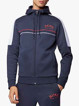 BOSS Saggy Win Zip-Up Logo Hoodie, Navy