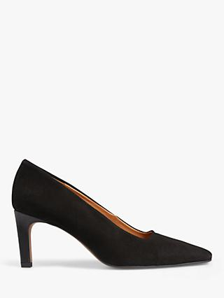Jigsaw Delia Suede Pointed Toe Court Shoes, Black