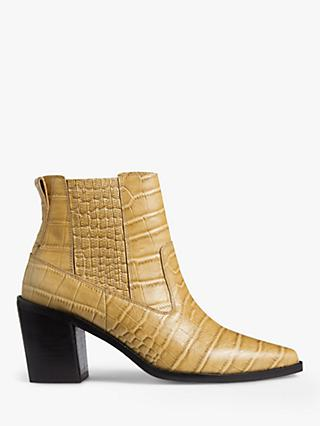 Jigsaw Adrienne Leather Ankle Boots, Camel