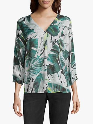 Betty & Co. Leaf Print Blouse, White/Green