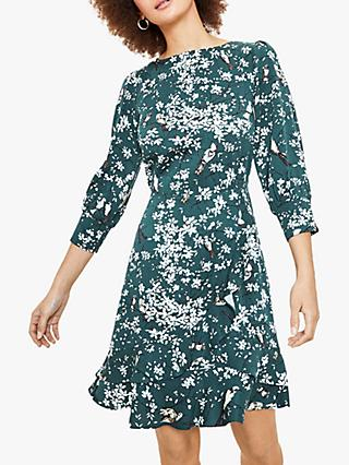 Oasis Bird Blossom Dress, Green