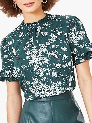 Oasis Bird Print Frill Top, Green/Multi