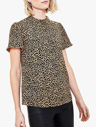 Buy Oasis Leopard Print T-Shirt, Brown, 6 Online at johnlewis.com