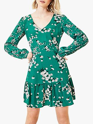 Oasis Dandelion Pintuck Frill Dress, Green/Multi