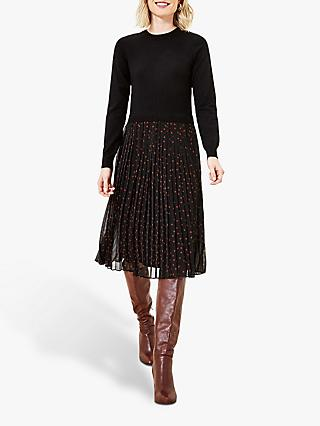 Oasis Jumper Spot Dress, Black/Multi