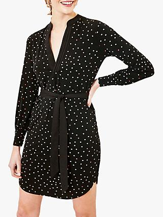 Oasis Spot Pintuck Dress, Black