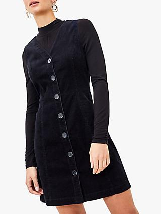 Oasis Cord Button Up Shift Dress, Navy