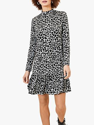Oasis Leopard Print Dropped Waist Dress, Grey/Black