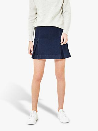 Oasis Kilt Denim Mini Skirt, Dark Wash
