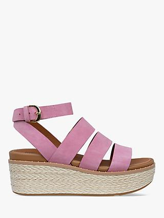 FitFlop Eloise Strappy Leather Wedge Sandals, Heather Pink