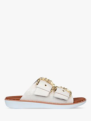 FitFlop Kaia Croc Print Leather Slides, White