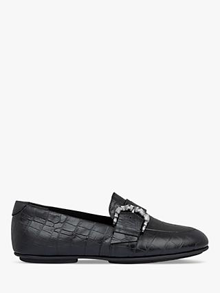 FitFlop Lisbet Croc Embossed Leather Loafers