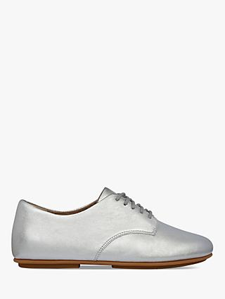 Fitflop Adeola Derby Leather Lace Up Shoes, Silver