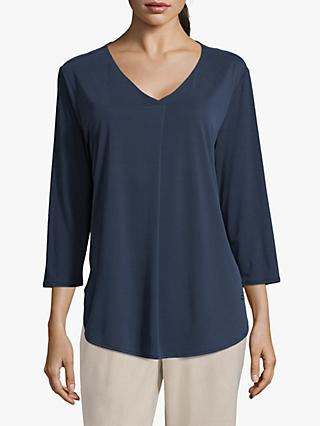 Betty & Co. V-Neck Central Pleat Top, Navy Blue