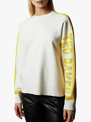 Ted Baker Clanthy Logo Sweatshirt, White/Yellow