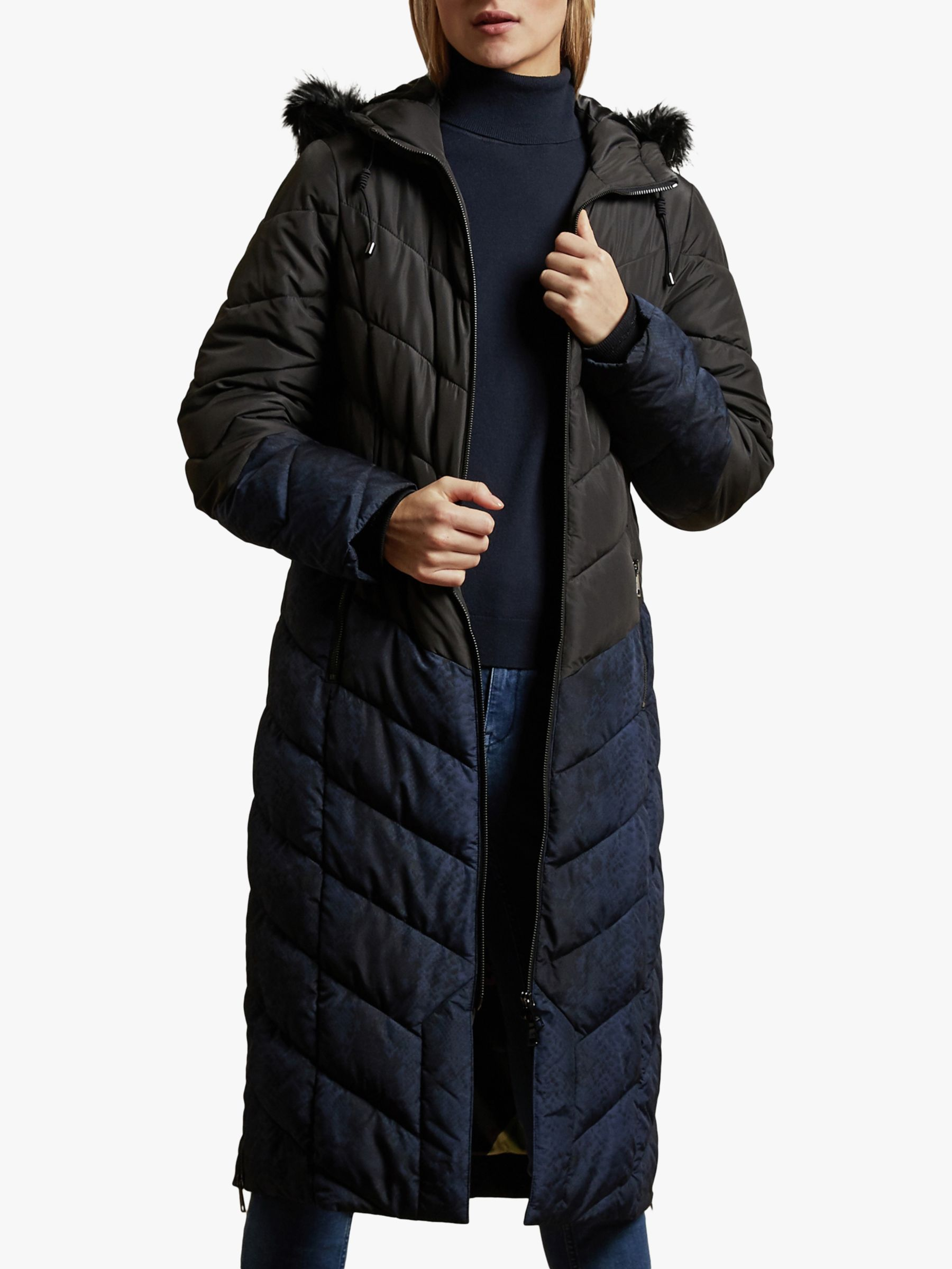 Ted Baker Ted Baker Hylea Chevron Quilted Coat, Black
