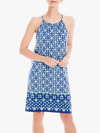 Max Studio Tile Print Dress, Navy/Yellow