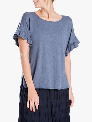 Max Studio Short Sleeve Frill Jersey Top