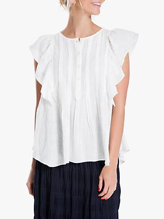 Max Studio Frill Sleeve Top, White
