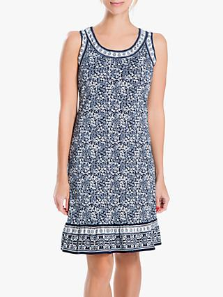 Max Studio Sleeveless Printed Dress, Navy/Cream