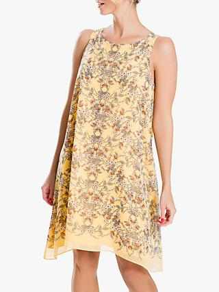 Max Studio Floral Print Sleeveless Dress, Yellow/Blush