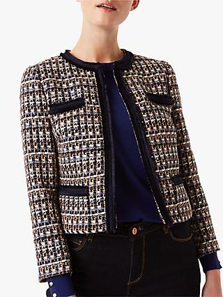 Hobbs Ayla Tweed Jacket, Navy/Multi