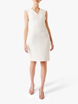 Hobbs Frida Tailored Crepe Dress, Ivory