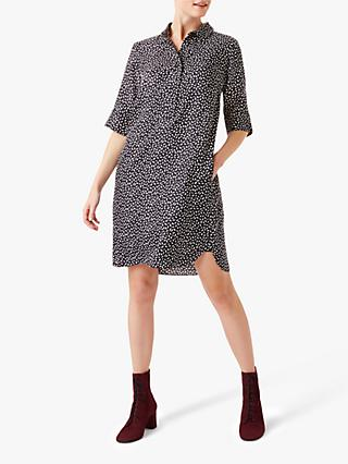 Hobbs Marciella Ditsy Print Shirt Dress, Navy Ivory